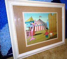 The PINK PANTHER Animation Art Original Production Cel Painted Background FRAMED