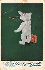 White Teddy Bear Waving Goodbye-Little Bear Behind-1908 PC by C. Twelvetrees Art