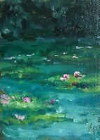 ACEO ATC Art Print Water Lily Pond Lake Garden Landscape Signed