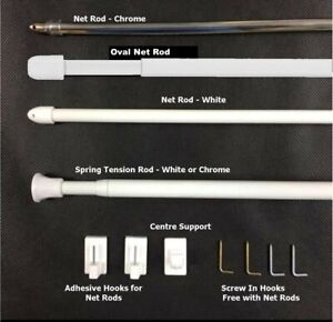 Spring Extendable Telescopic Net or Voile Tension Rod Rail Pole Net Rods