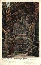 1902 Stempel Halberstadt auf Litho-AK Wekelsdorf Wekelsdorfer Felsen alte AK