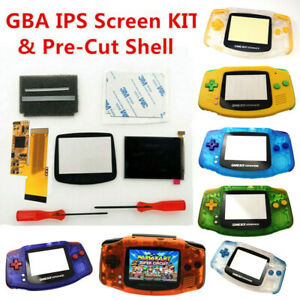 GBA V2 IPS Screen Backlight LCD Mod & GBA Pre-Cut Housing shell Case -NEW
