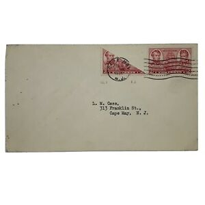RARE 1937 BISECT STAMP US COVER CAPE MAY, NEW JERSEY
