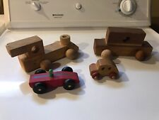 LOT 4 Handmade Wooden Toys TRAIN, CARS