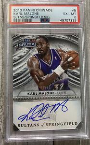 2013-14 Panini Crusade Basketball #/25 Karl Malone Auto On Card #5 PSA 6 PMJS 25