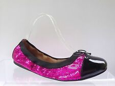 BP Mindy Womens Ballet Flats Shoes Fushia Sequin/Black Size 8.5