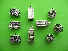 Mix Pack 9 3D Bus Crown Telephone Box London UK Tibetan Silver Charms Pendants