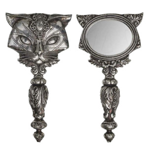 Gothic Cat Hand Mirror Sacred Cat Make up Medieval Alchemy Witch Handheld Mystic