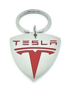 Tesla Stainless Steel Logo keyring keychain key chain pendant Key Holder Red