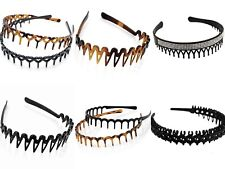 BLACK & BROWN TOOTHED ALICE BAND HEAD HAIR HEADBAND SHARKS TOOTH ZIG ZAG