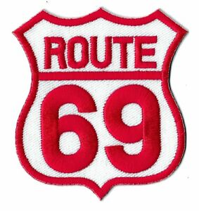 Patch Badge Route 69 Transfer Fusible Patch Biker Embroidered Patch