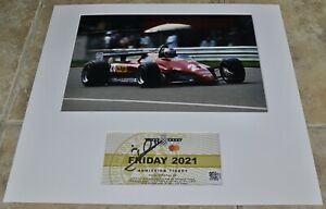 """Mario Andretti Signed Goodwood Ticket Mounted With 12""""x 8"""" Photo F1 With COA"""