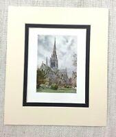1906 Antico Stampa Chicester Cathedral Landscape Vista Vecchio Inglese