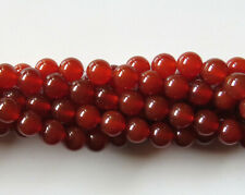 50pcs 8mm Round Natural Gemstone Beads - Red Agate