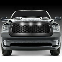 Matte Black Front Hood Mesh Grille+Shell+White 3x LED for 13-17 Dodge RAM