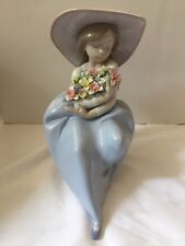 Lladro Girl With Flowers Figurine
