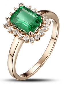 0.55ct Natural Round Diamond 14k Solid Rose Gold Emerald Cluster Ring Size 7