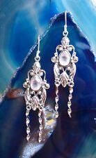 Ohrring Ohrhänger Antik Stil Rosenquarz rosa Stein der Liebe Sterling Silber 925
