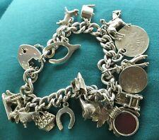 Vintage Sterling Silver Charm Bracelet - 16 Charms - Antique Spinner Fob - 65g