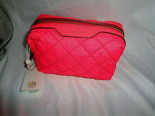 TORY BURCH PERRY QUILTED NYLON SMALL COSMETIC CASE MAKEUP BAG HOLI PINK POUCH