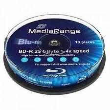 10 MEDIARANGE Bluray BD-R 25GB 1-4X cake 10 BLU RAY MR495