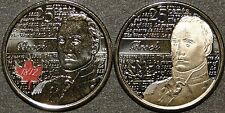 UNC Canada 2012 Issac Brock  25 cent quarter red color & no color 2 coins set