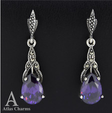 Marcasite CZ Amethyst Dangle Earrings 925 Sterling Silver Wedding Birthday Gifts