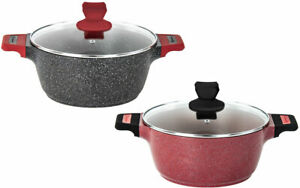 Non Stick Marble Induction Stockpot Casserole Cooking Pot Pan with Glass Lid