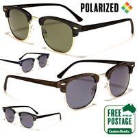 Polarised Sunglasses - Half Rimmed Frame- Mens Womens Wood Grain Print Polarized