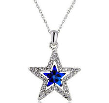 Women Blue Crystal Rhinestone Five-pointed star Silver Chain Pendant Necklace !!