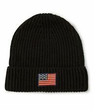 NWT Polo Ralph Lauren USA Flag Cuff Beanie Black Hat Wool Blend