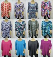 Women's Comfy Relaxed Fit Retro 3/4 Sleeve Shark Bite Tunic Top Size M~2X