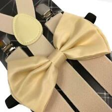 CREAM Suspender and Bow Tie Set for Adults Men Women (USA Seller)