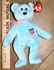 """TY Beanie Baby """"Eggs II"""" Easter egg Bear, blue 2001 plush, mint w/ tags attached"""