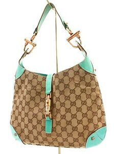 【Rank BC】Auth Gucci Jackie GG Canvas Shoulder Bag Hand Bag Green Leather Italy