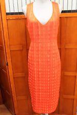 NEW Diane von Furstenberg Bold Red Orange Sleeveless Textured Dress 2 XS S $328