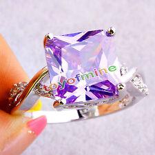 Piedras preciosas Turmalina Moda Púrpura Joyas De Plata Anillo De Mujer  Talla 4