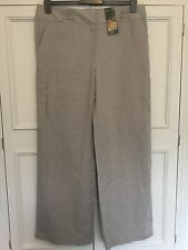 LINEN, WIDE LEG NATURAL COLOURED TROUSERS, NEW WITH TAGS, SIZE 16.