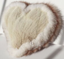 Mink Heart Pillow Blue Fox Fur Tricolor Deco Couch Love Sofa Nude Camel White