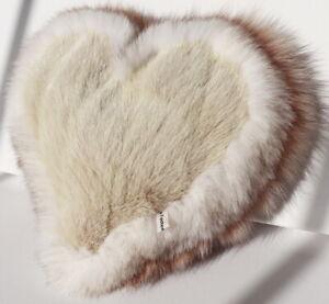 Mink Heart Pillow Blue Fox Fur Tricolor Deco Couch Love Sofa Nude Camel White