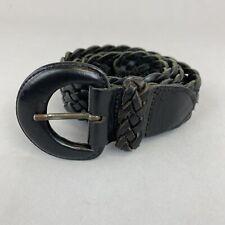"Vtg Country Road Black Leather Boho Hippies Trouser Plaited Belt Size M 35"" Long"