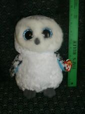 "Ty Beanie Boo SPELLS the WHITE OWL medium 9"" MWMT red Glitter eyes RETIRED HTF"