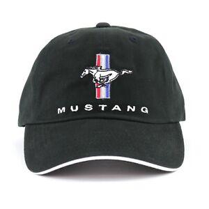 Ford Mustang Tri-Bar Emblem Baseball Hat Ball Cap Black Embroidered Licensed