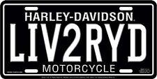 Harley Davidson LIV2RYD Embossed Metal Novelty Car License Plate Auto Tag