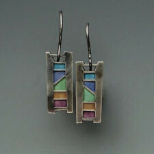 Woman Multi-Color Gemstone 925 Silver Ear Hook Drop Dangle Party Gift Earrings