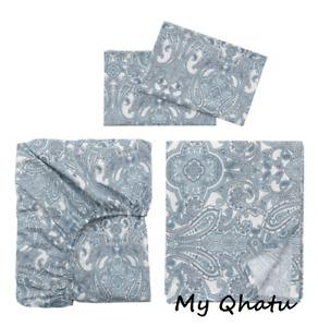 Ikea JATTEVALLMO Sheet Set Full(Double) Paisley Blue White  New