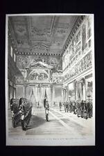 Roma:Ricevimento di Capo d'Anno - La sala delle Cento Guardie Incisione del 1876