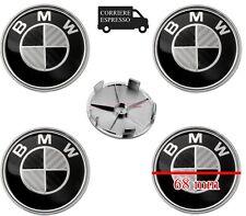 4 TAPPI COPRIMOZZO BMW LOGO FIBRA DI CARBONIO 68mm Serie 1 2 3 4 5 6 7 M Z X