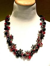 FABULOUS SIGNED JESSICA SIMPSON JS SILVER CHAIN RED GLASS BEAD FLORAL NECKLACE