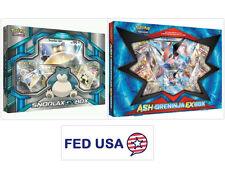 Snorlax GX Box + Ash-Greninja EX Box POKEMON TCG Collection Sealed Booster Packs